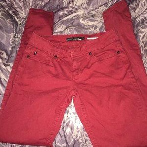Burgundy skinny jeans size 3